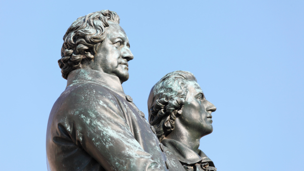 Bronze statues of Goethe and Schiller in Weimar.