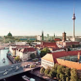 View of the skyline of Berlin with the television tower in the background.